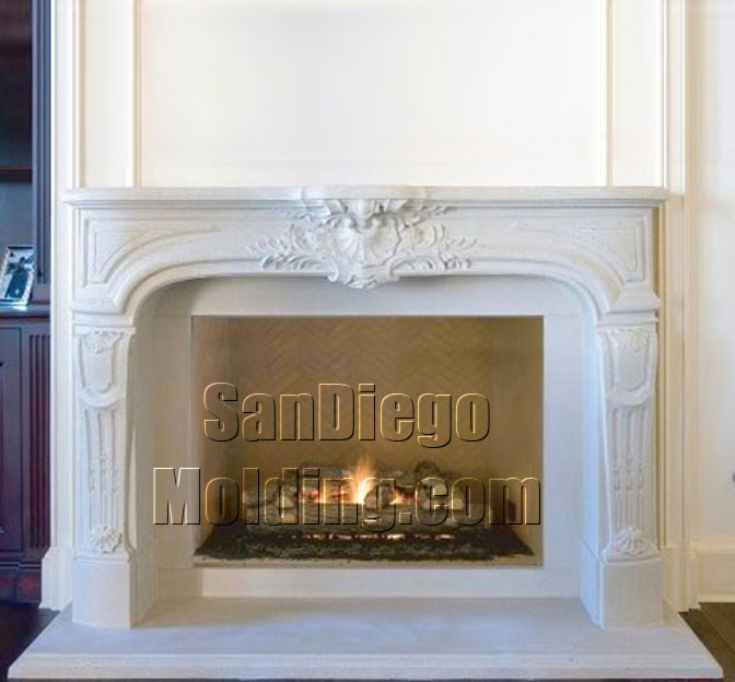 Precast stone fireplace mantle